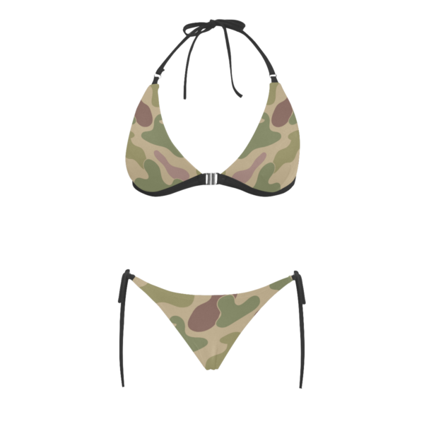Sexy & Stylish Jungle Print Camouflage Halter Top Style Bikini Set with Front Closure by Swim Rags - Frontal View
