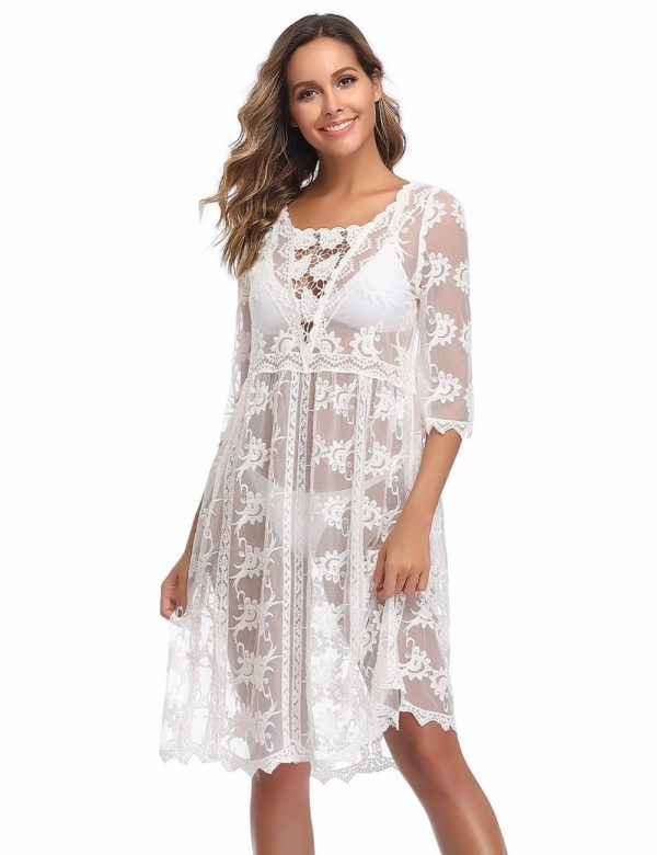 Swim Rags Sheer White Bohemian Style Beach Cover-up Dress (1)