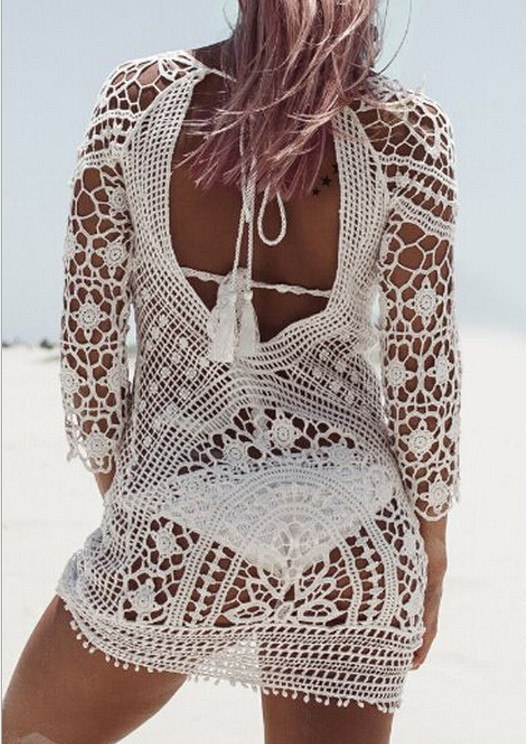 Swim Rags White Sandy Beaches Knitted Hollow Out Beach Dress (1)
