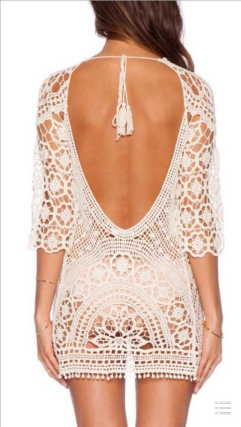 Swim Rags White Sandy Beaches Knitted Hollow Out Beach Dress (2)