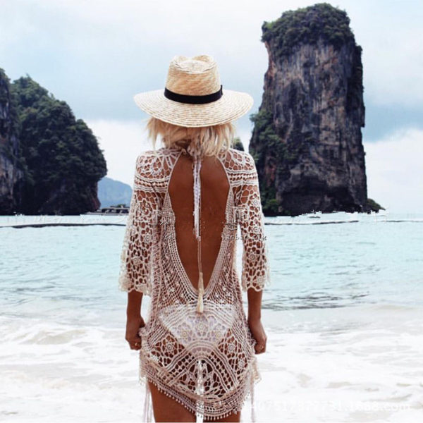Swim Rags White Sandy Beaches Knitted Hollow Out Beach Dress (3)Swim Rags White Sandy Beaches Knitted Hollow Out Beach Dress (5)