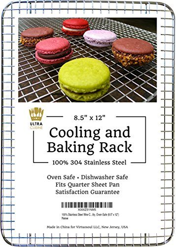 Ultra Cuisine 100% Stainless Steel Wire Cooling Rack fits Quarter Sheet Size Baking Pan