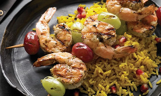 Zahtar Shrimp and Grape Kabobs Recipe