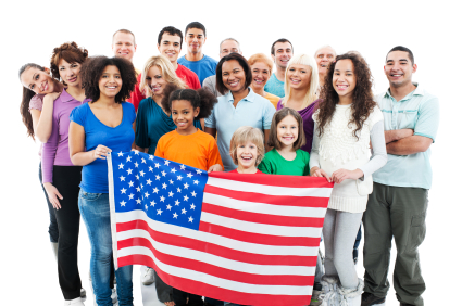 Mixed group of nations with an American flag.